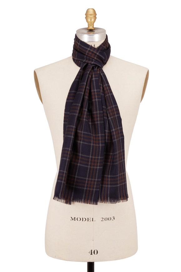 Brioni Navy Wool & Silk Plaid Scarf