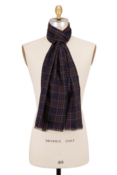Brioni - Navy Wool & Silk Plaid Scarf