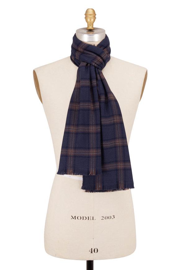 Brioni Blue & Brown Plaid Wool Scarf