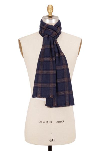 Brioni - Blue & Brown Plaid Wool Scarf