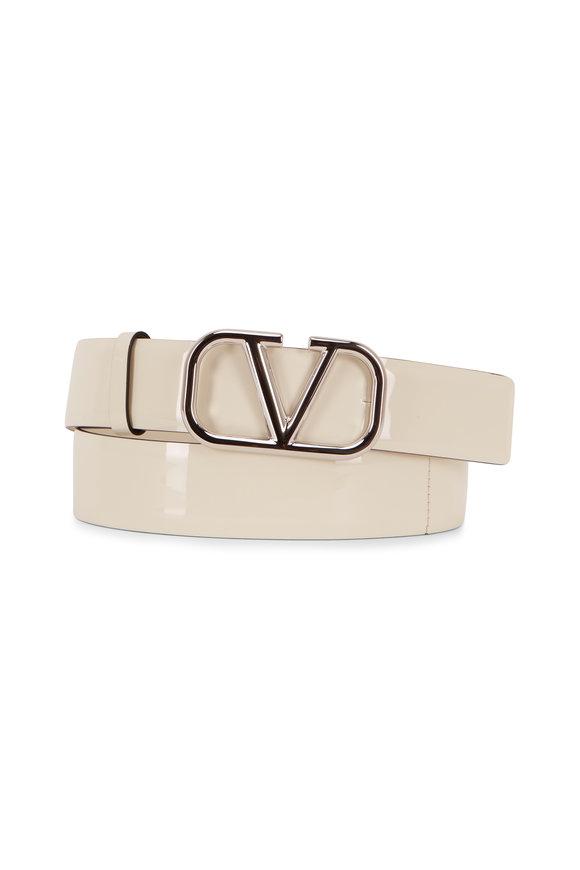 Valentino Garavani VLogo Ivory Patent Leather Skinny Logo Belt