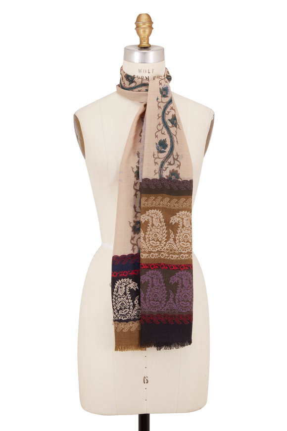 Etro Off White Cashmere Stripe & Floral Scarf