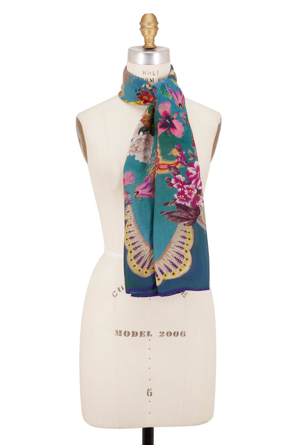 Etro Turquoise Cashmere Scallop Floral Scarf