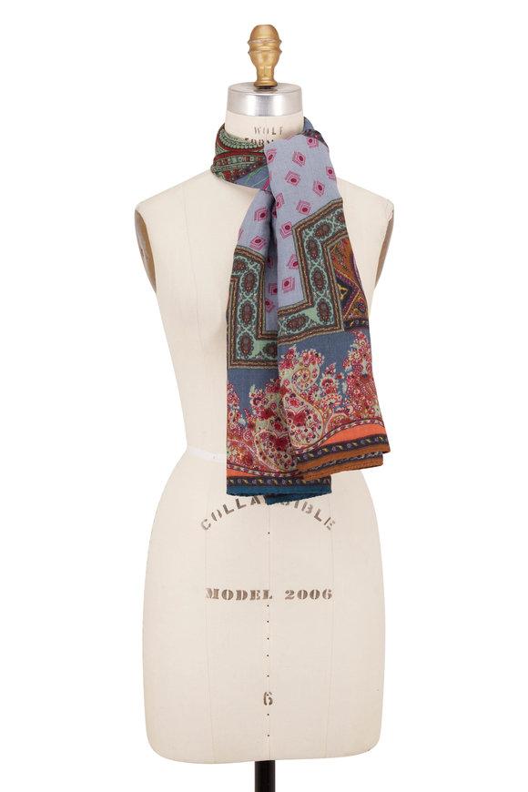 Etro Light Blue Wool & Silk Tie Print Scarf