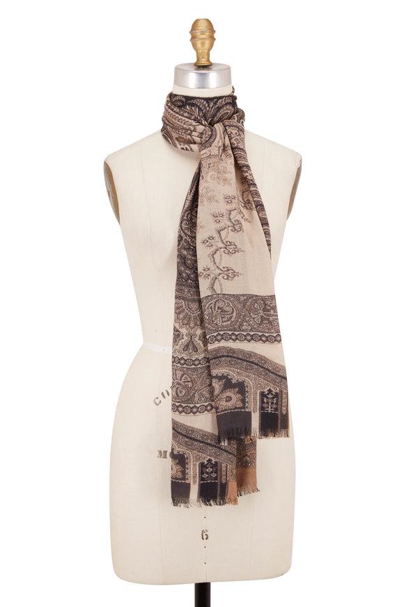 Etro Natural & Black Wool & Silk Paisley Scarf