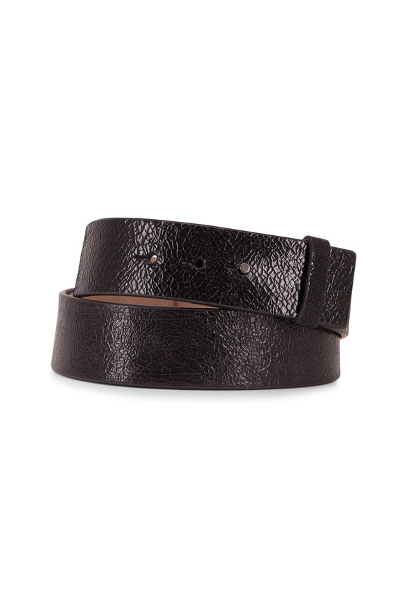 Brunello Cucinelli Black Crackled Glossy Leather Monili Double Belt