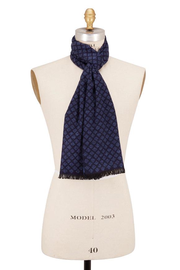 Chelsey Imports Blue Geometric Silk Scarf