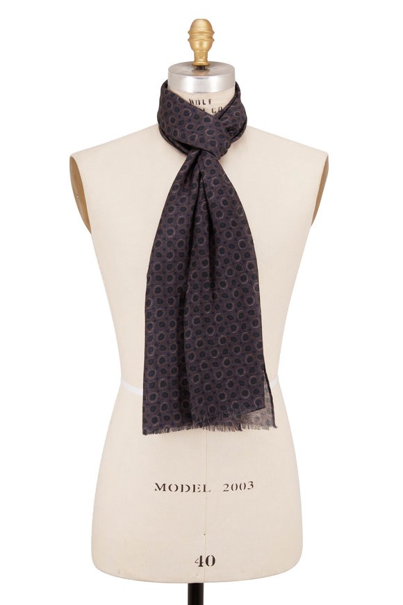 Chelsey Imports Charcoal Gray Wool Geometric Scarf