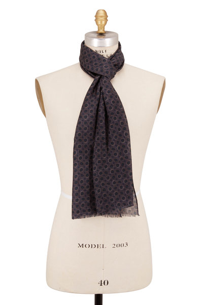 Chelsey Imports - Charcoal Gray Wool Geometric Scarf