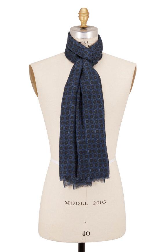 Chelsey Imports Denim Blue Wool Geometric Print Scarf