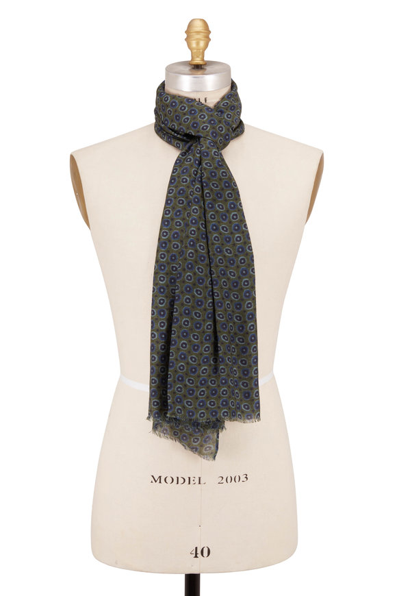 Chelsey Imports Olive Green Wool Geometric Print Scarf