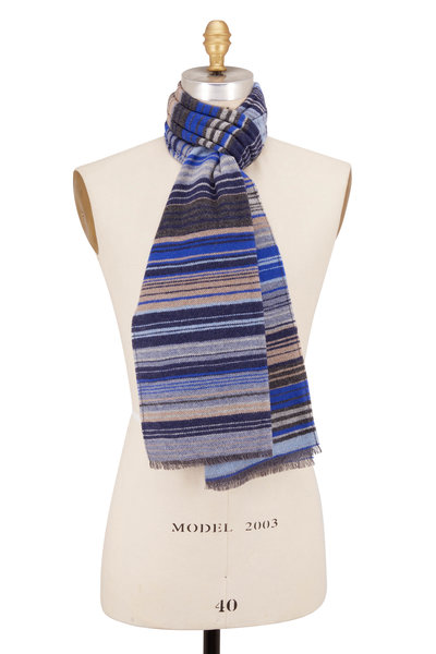 Chelsey Imports - Gray & Blue Stripe Wool Scarf
