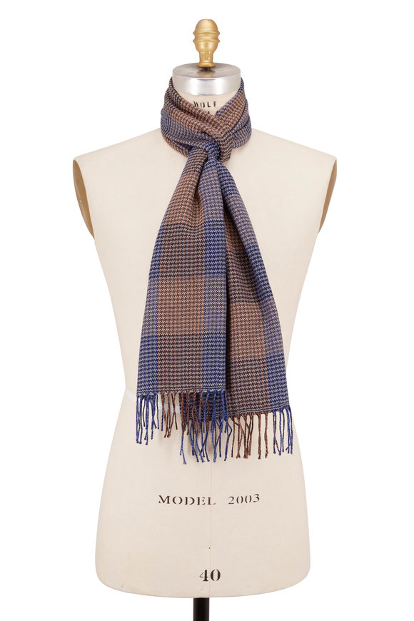 Chelsey Imports Blue & Tan Check Wool Scarf