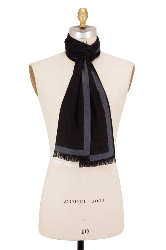 Chelsey Imports Black Color Block Silk Scarf