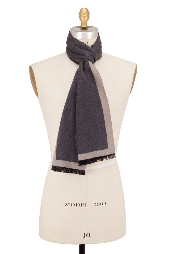 Chelsey Imports Charcoal Color Block Silk Scarf