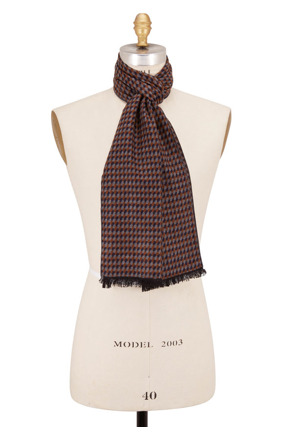 Chelsey Imports Brown Geometric Silk Scarf
