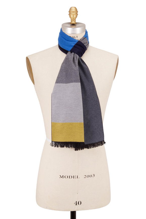 Chelsey Imports Navy Wide Stripe Silk Scarf