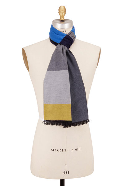 Chelsey Imports - Navy Wide Stripe Silk Scarf