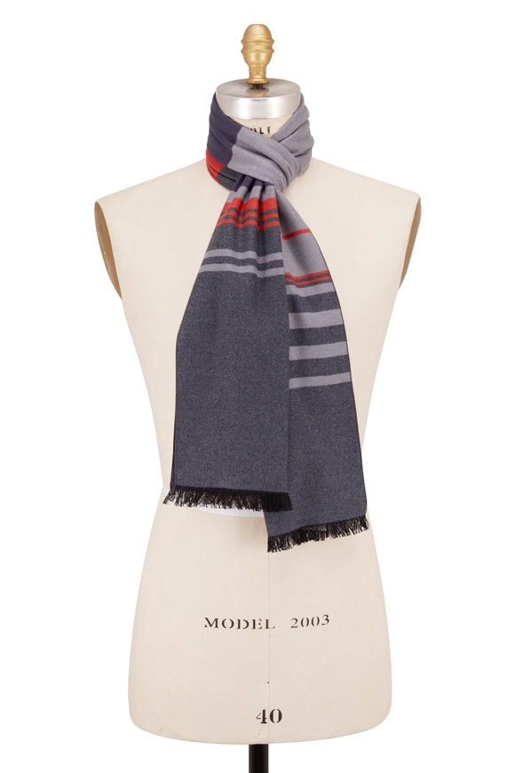 Chelsey Imports Gray Stripe Silk Scarf