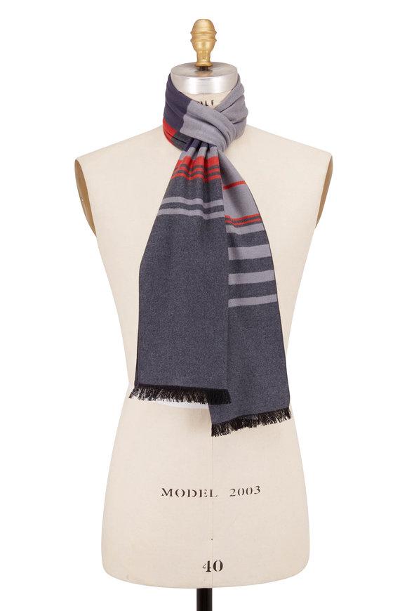 Chelsey Imports Gray Stripe Silk Scarf