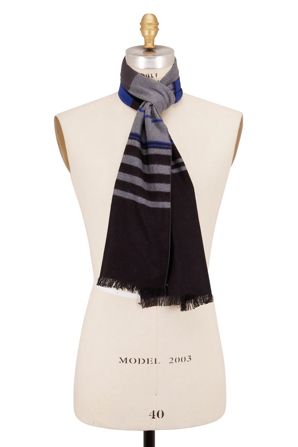 Chelsey Imports Black Stripe Silk Scarf