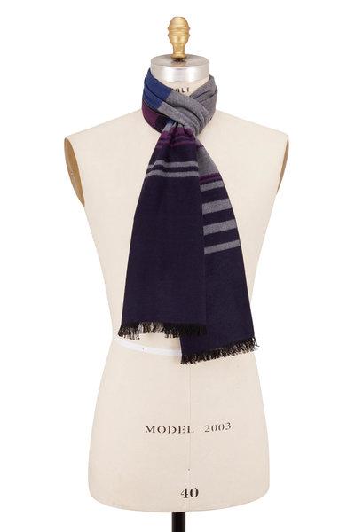 Chelsey Imports - Navy Stripe Silk Scarf