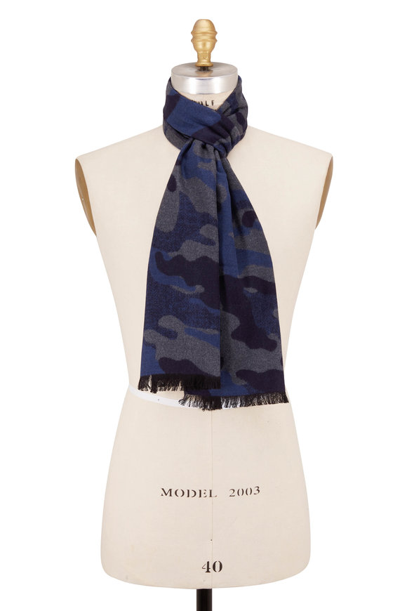 Chelsey Imports Blue Camo Silk Scarf