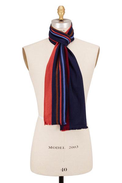 Chelsey Imports - Navy & Orange Stripe Silk Scarf