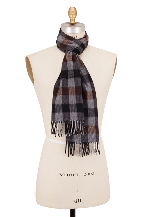 Chelsey Imports Gray Check Cashmere Scarf