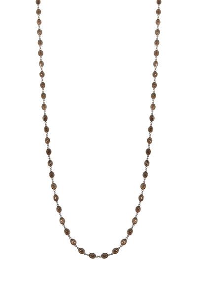Loriann - Oval Smokey Topaz Accessory Necklace