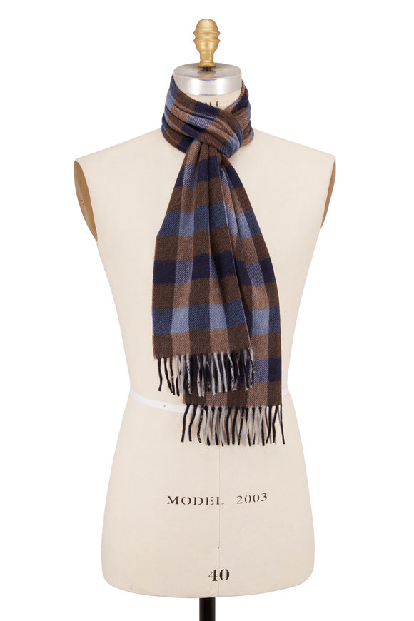 Chelsey Imports Brown & Blue Check Cashmere Scarf