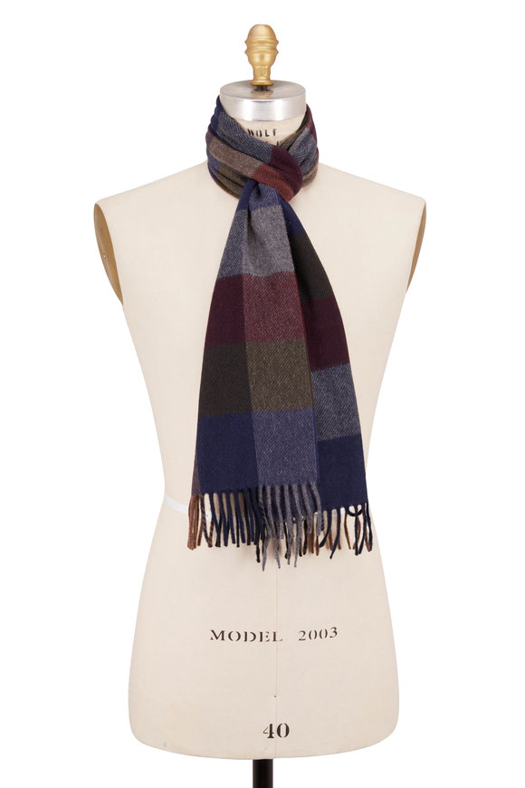 Chelsey Imports Olive & Burgundy Large Check Cashmere Scarf