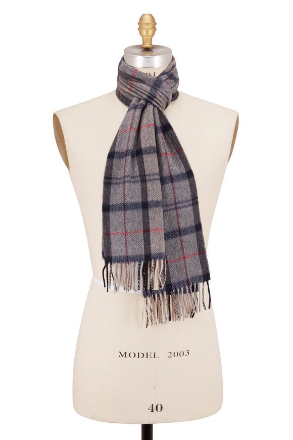 Chelsey Imports Gray Plaid Cashmere Scarf