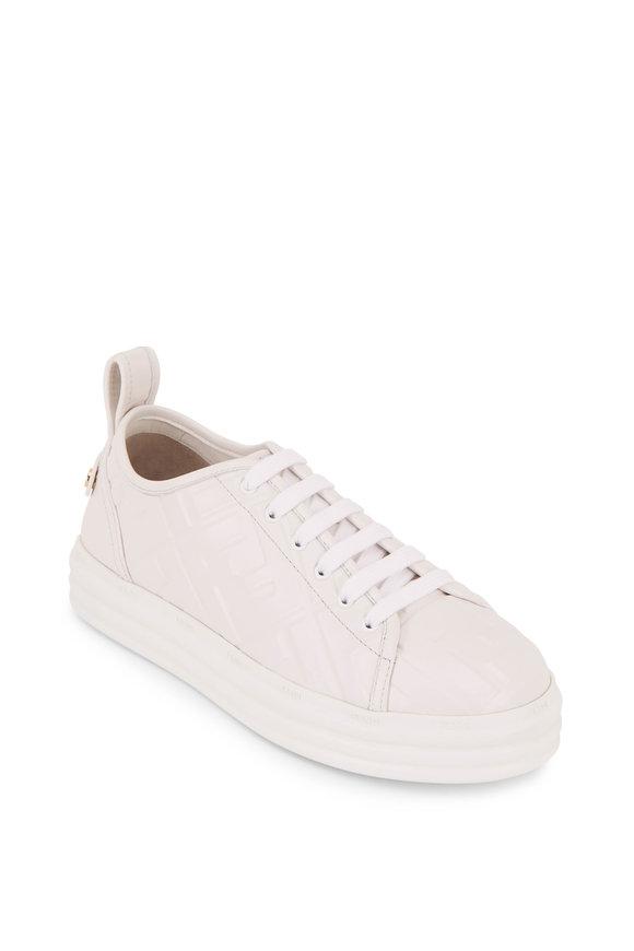Fendi White Leather Embossed Logo Flatform Sneakers