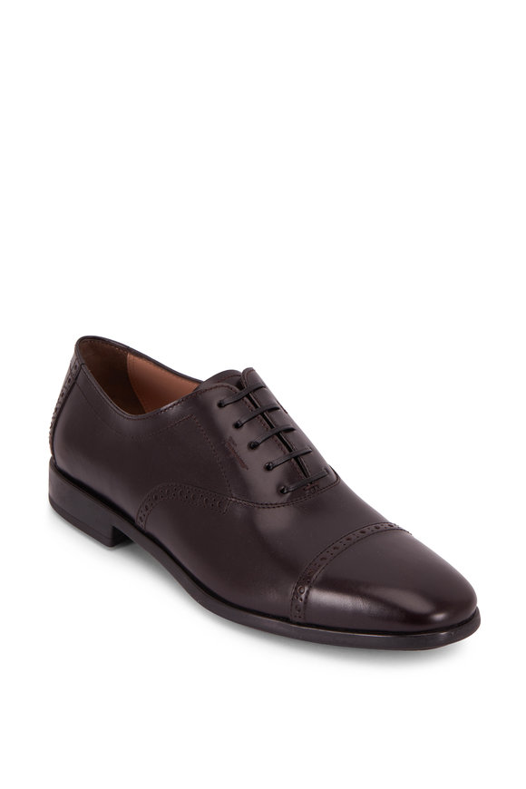 Salvatore Ferragamo Riley Burgundy Leather Lace-Up Dress Shoe