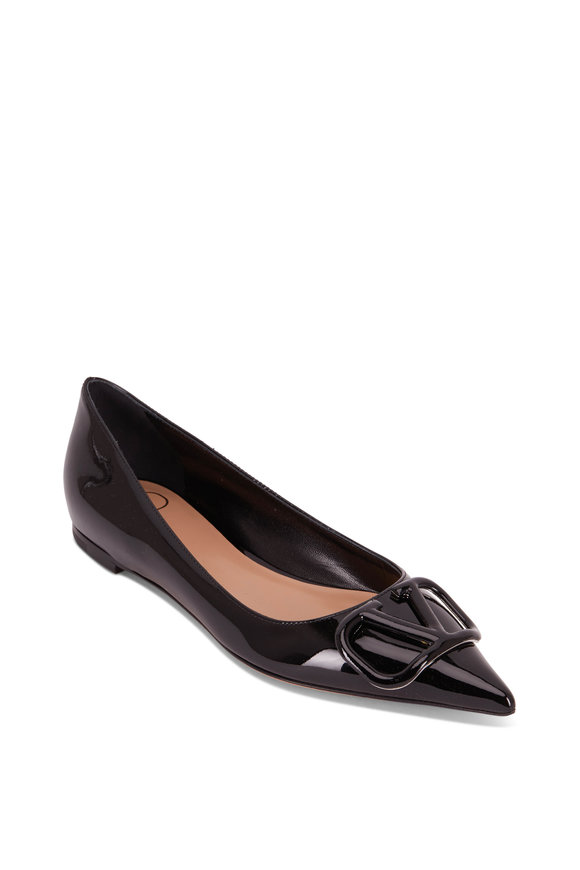 Valentino Garavani VLOGO Black Leather Pointy Ballet Flat