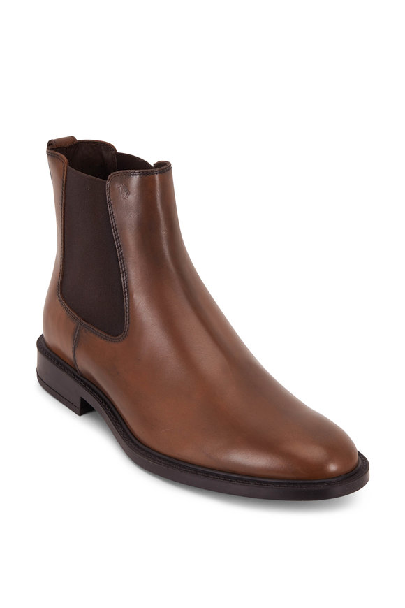 Tod's 45A Brown Burnished Leather Chelsea Boot