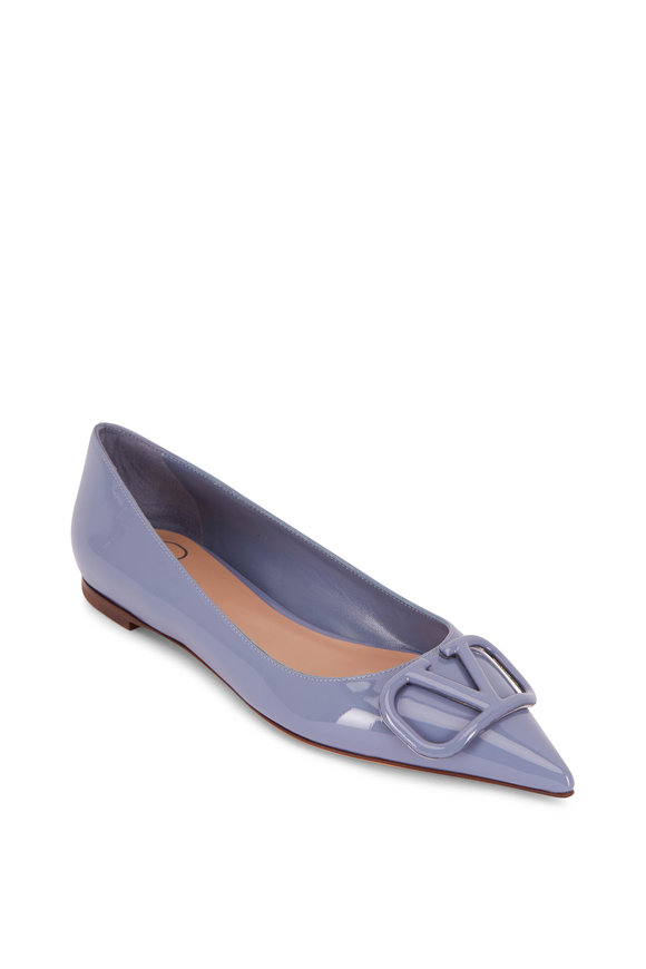 Valentino Garavani VLOGO Blue Patent Leather Pointed Ballet Flat