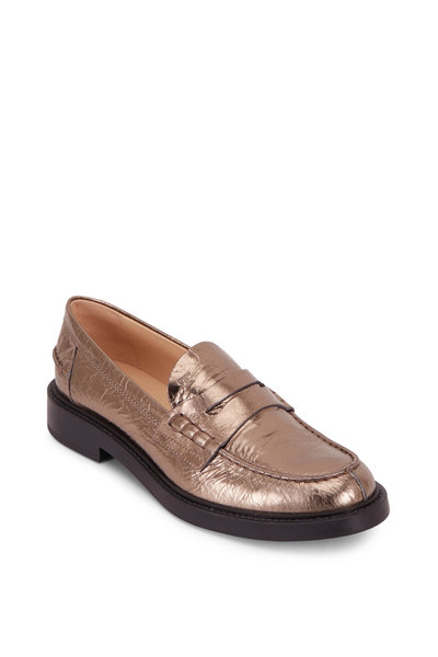 Tod's - Metallic Leather Penny Loafer