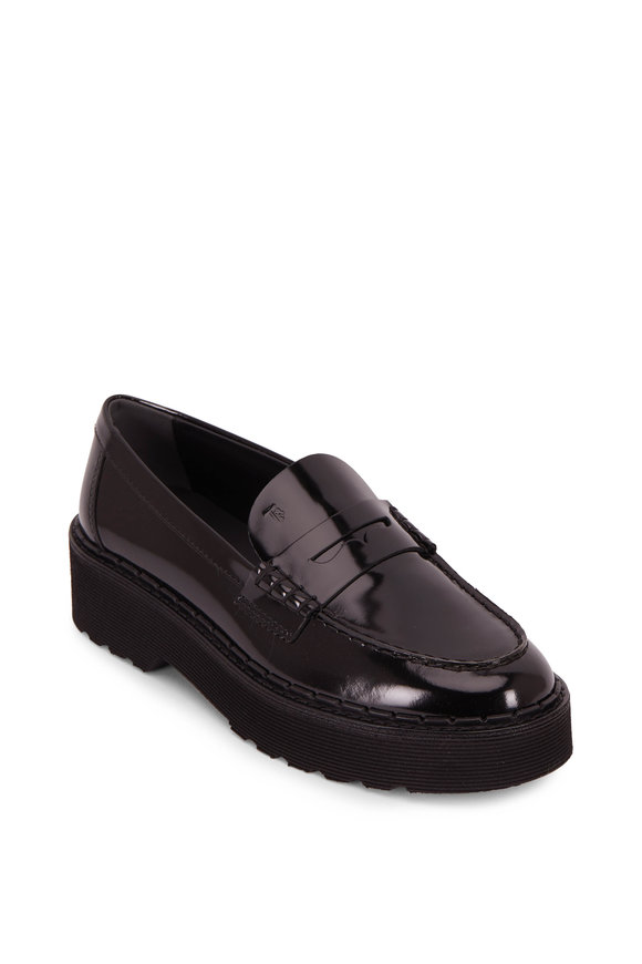 Tod's Black Patent Leather Exaggerated Sole Penny Loafer