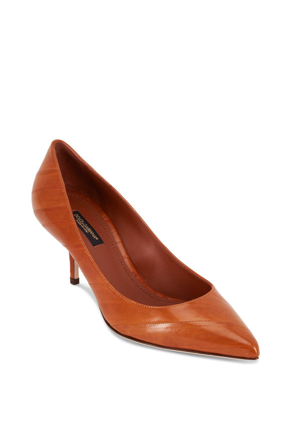 Dolce & Gabbana Bruciato Brown Eel Pointed Pump, 60mm