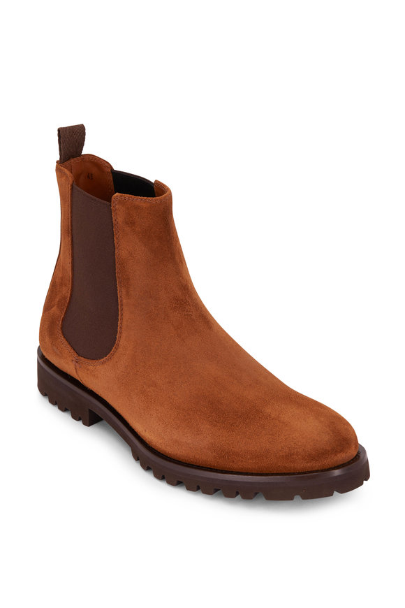 Brunello Cucinelli Brown Suede Lug Sole Chelsea Boot