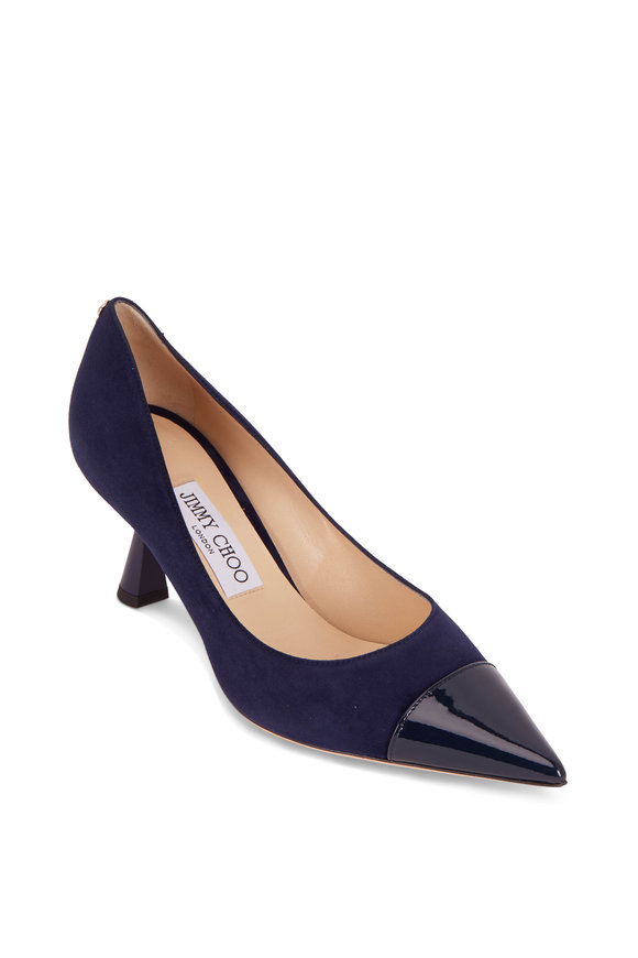 Jimmy Choo Rene Navy Patent Leather & Suede Pointed Pump,65mm