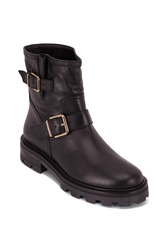 Jimmy Choo Youth II Black Leather Biker Boot