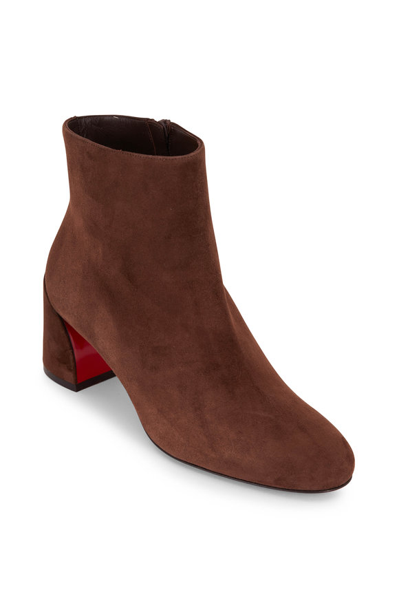 Christian Louboutin Turela Brown Suede Chunky Heel Boot, 55mm