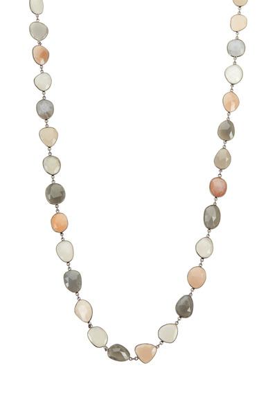 Loriann - Multi Color Organic Moonstones Accessory Necklace