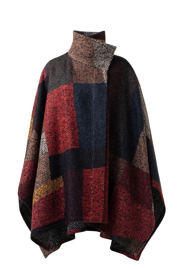 Akris Multicolor Wool & Mohair Bouclé Cape