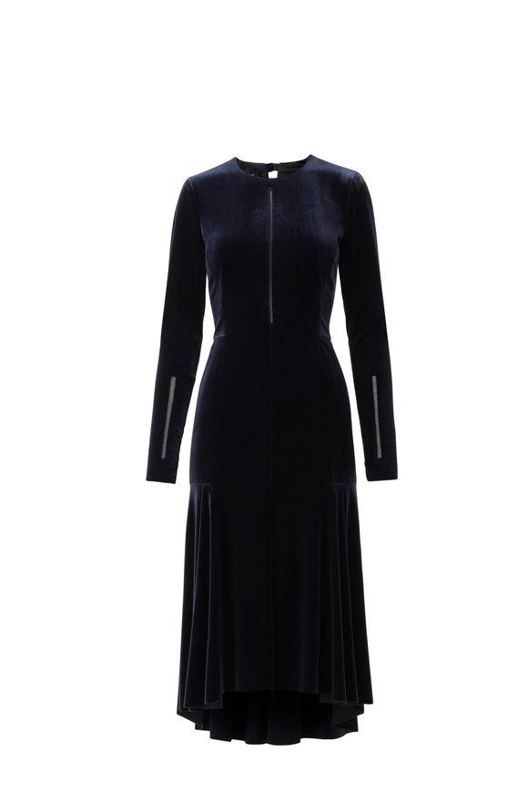 Akris Navy Velvet Long Sleeve Cocktail Dress
