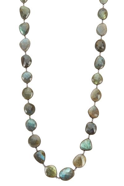 Loriann - Blue & Gray Multicolor Labradorite Necklace