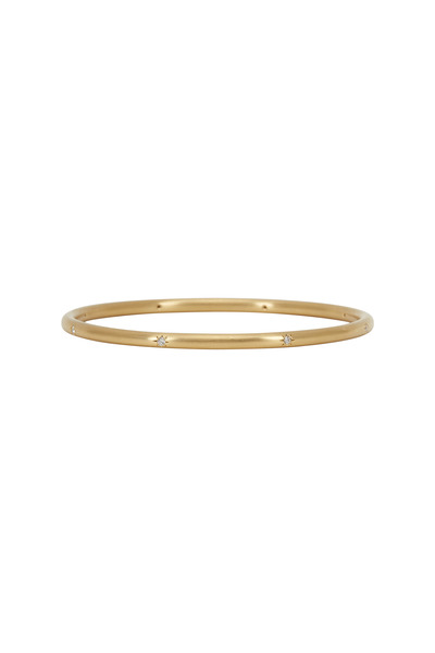 Caroline Ellen - Yellow Gold White Diamond Bangle Bracelet